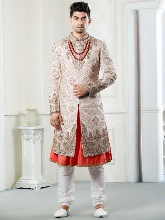 Pink Hue Raw Silk Fabric Wedding Function Sherwani