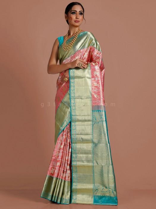 Pink Kanjivaram Tissue Silk Saree For Bridal Wear