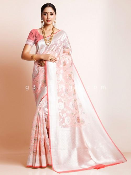 Pink Organza Silk Festive Wear Sari