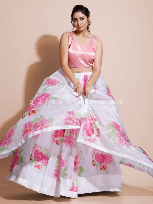 Pink Organza Tissue Floral Print Lehenga Choli