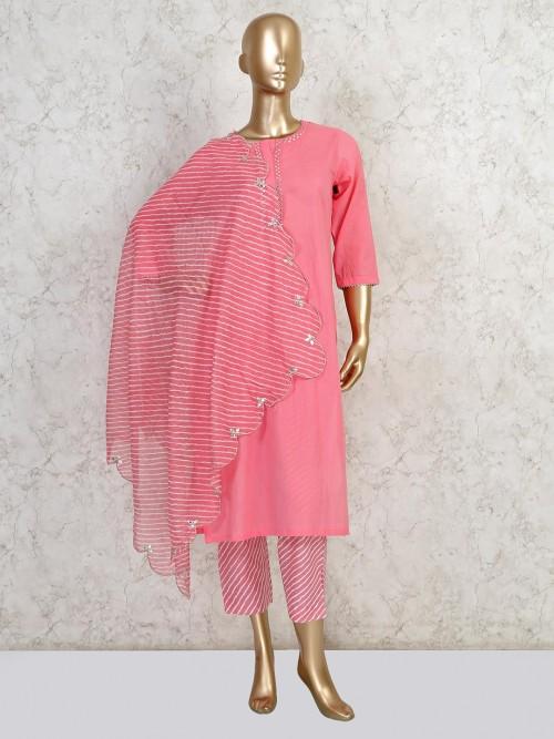 Pink Pant Style Salwar Kameez In Cotton