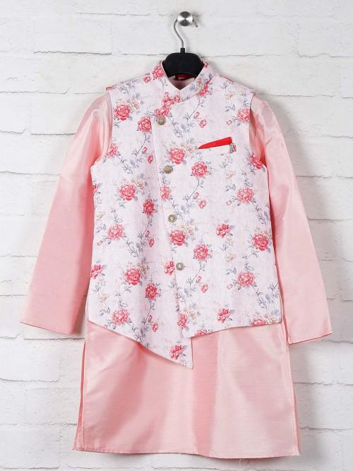 Pink Printed Raw Silk Boys Waistcoat Set