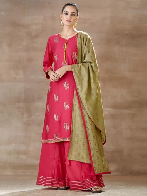 Pink Punjabi Palazzo Suit In Cotton Silk