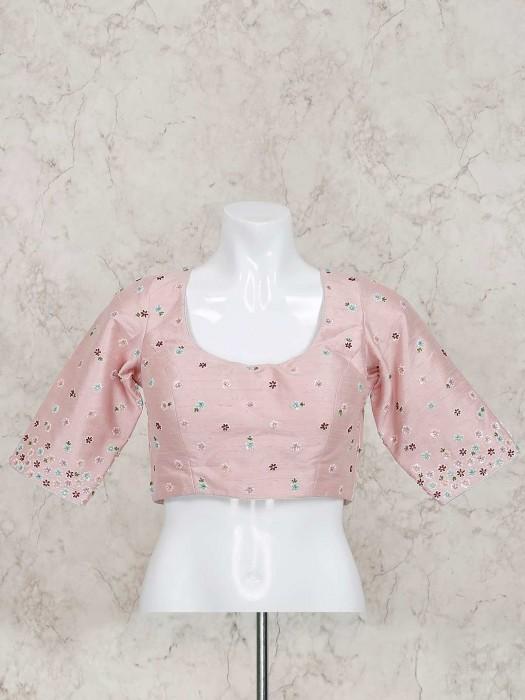 Pink Raw Silk Ready Made Prettiest Blouse