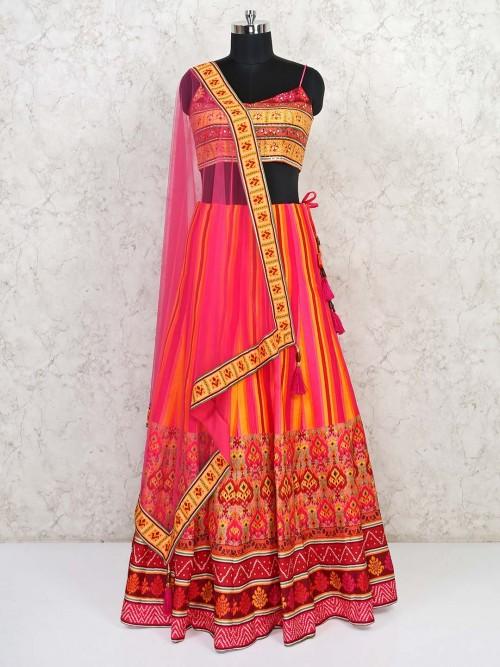 Pink Raw Silk Wedding Wear Designer Lehenga Choli