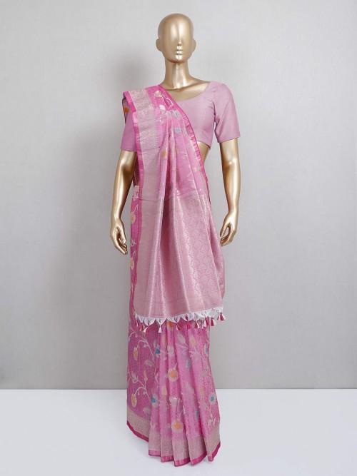 Pink Semi Silk Festive Wear Designer Sari