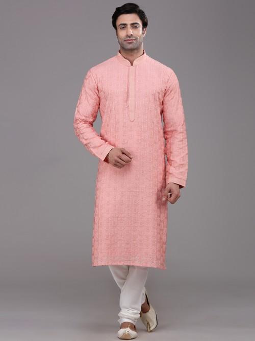 Bright Pink Silk Festive Occasion Kurta Suit