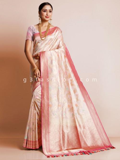 Pink Silk Saree For Wedding Session