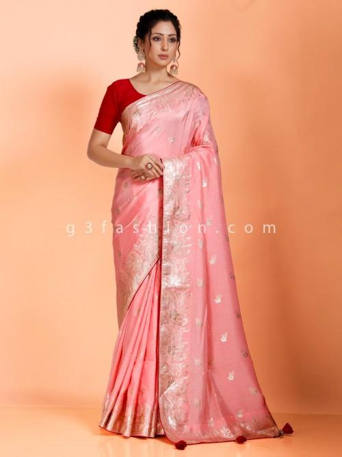 Pink Sober Look Dola Silk Saree