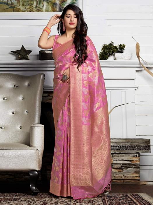 Pink Thead Zari Weaving Banarasi Silk Saree