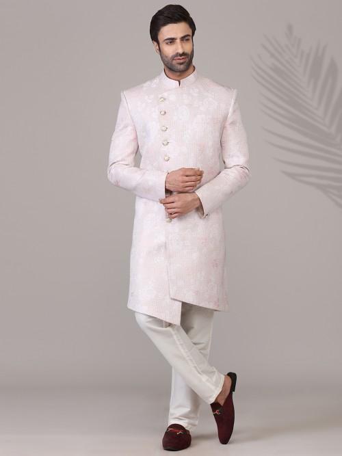 Pink Thread Woven Mens Silk Indo Western