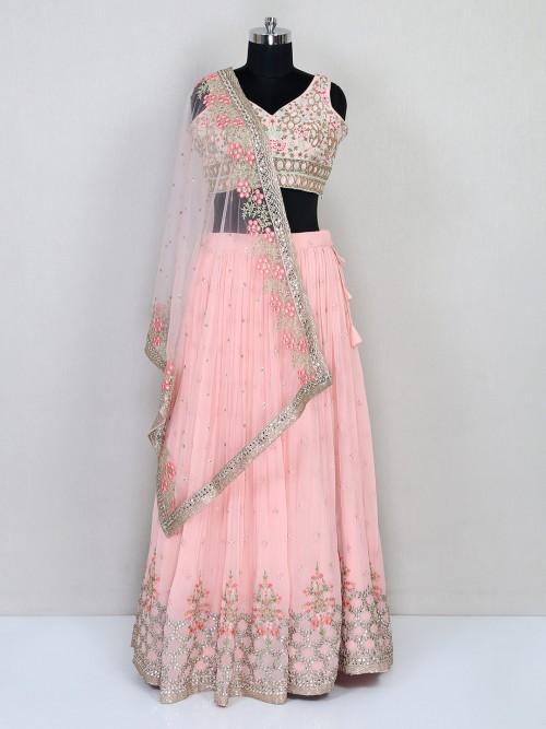 Pink Wedding Wear Lehenga Choli In Georgette