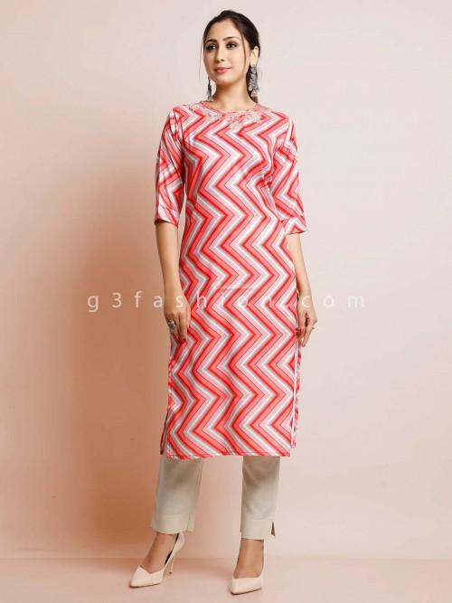 Pink Women Cotton Festive Wear Kurti