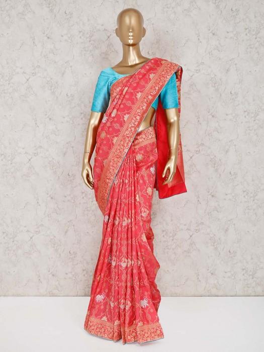 Pink Zari Weaving Muga Silk Saree
