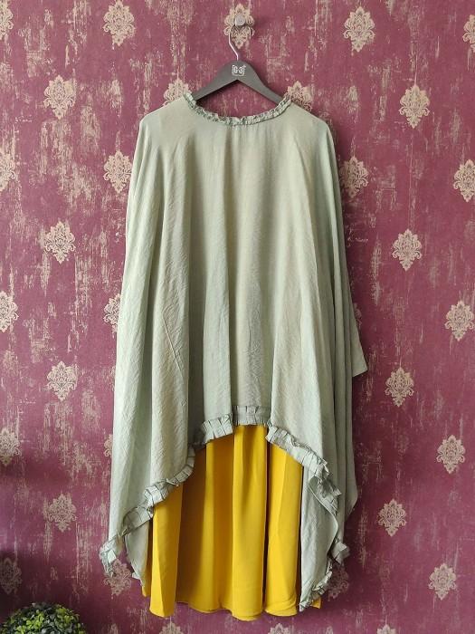 Pista Green Cape Top And Yellow Kurti Dress