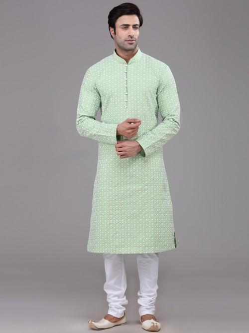 Pista Green Chikan Thread Weaving Kurta Suit For Festive
