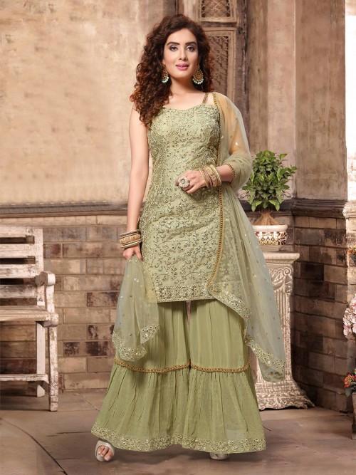 Pista Green Classic Georgette Punjabi Sharara Suit
