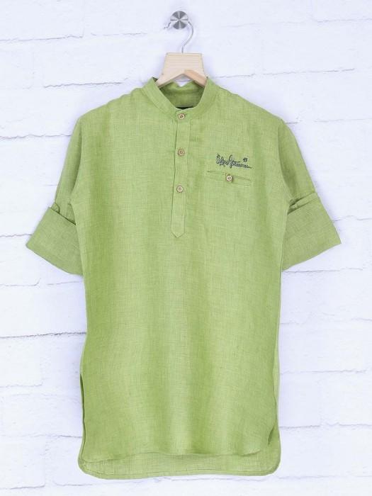 Pista Green Color Festive Wear Short Pathani