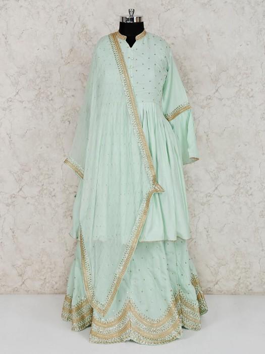 Pista Green Cotton Festive Lehenga Suit