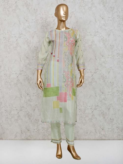 Pista Green Cotton Festive Salwar Suit