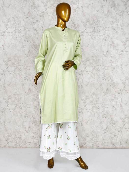 Pista Green Cotton Punjabi Palazzo Suit