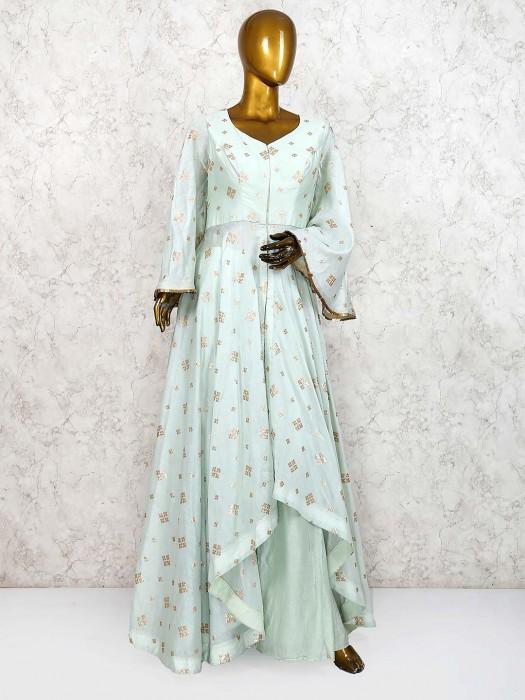 Pista Green Cotton Silk Fabric Designer Palazzo Suit