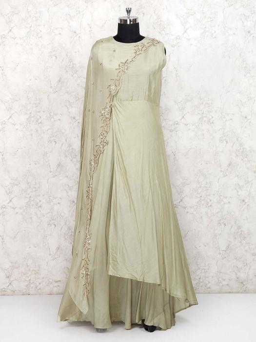 Pista Green Cotton Silk Fabric Indo Western Salwar Suit