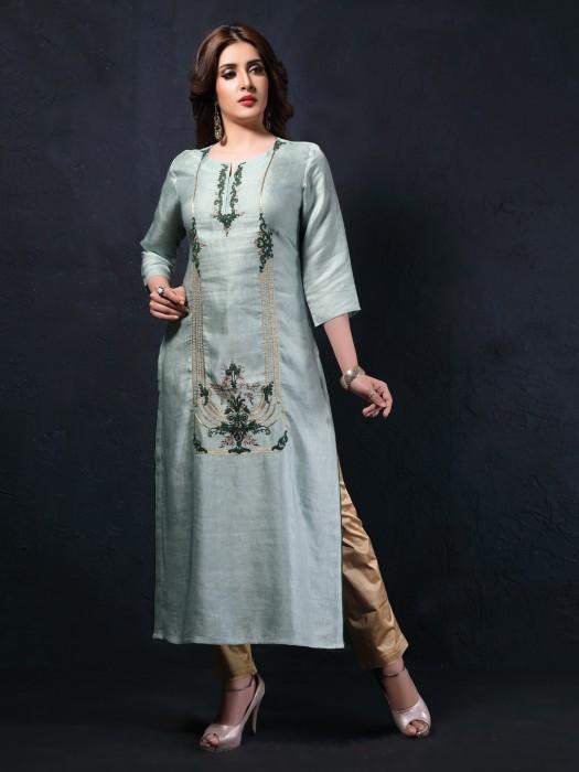Pista Green Cotton Silk Festive Long Kurti