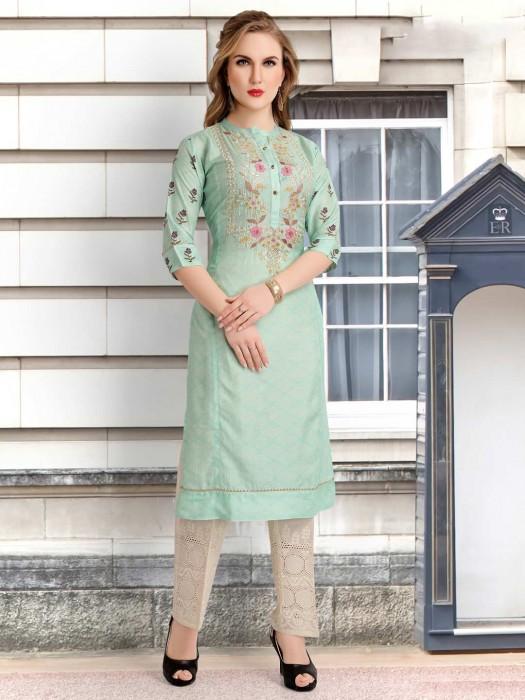 Pista Green Cotton Silk Punjabi Pant Suit