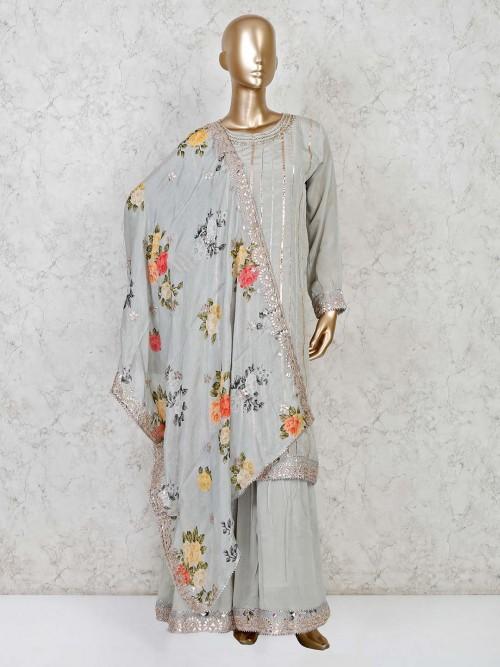 Pista Green Cotton Silk Punjabi Sharara Suit For Party