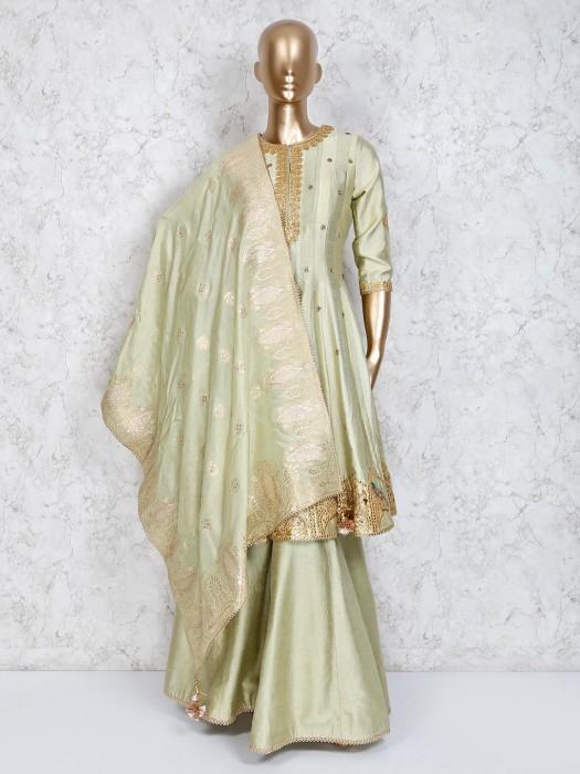 Pista Green Designer Silk Punjabi Palazzo Suit