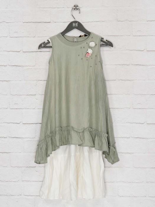 Pista Green Double Layer Casual Kurti In Cotton