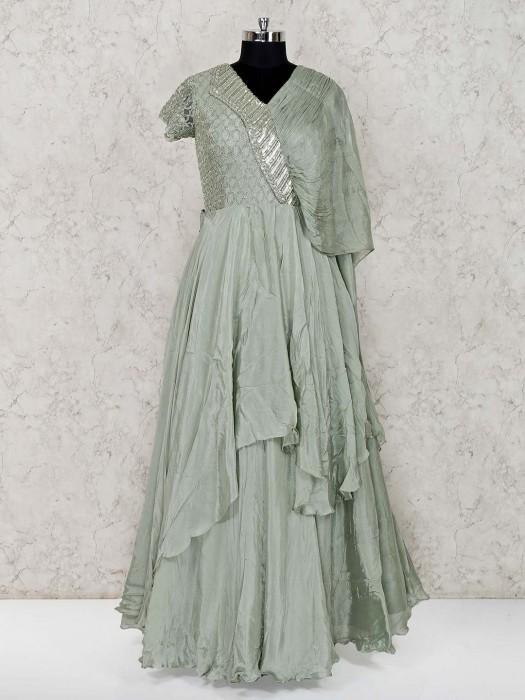 Pista Green Floor Length Designer Satin Gown