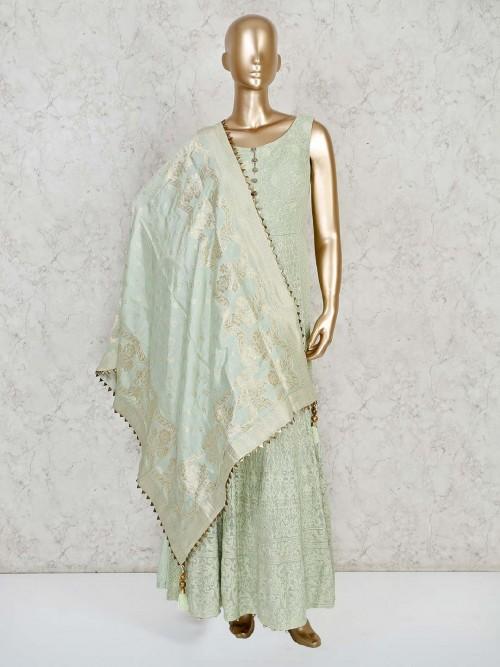 Pista Green Georgette Designer Anarkali Palazzo Suit