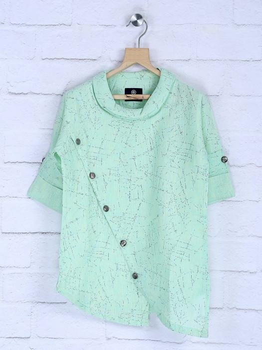 Pista Green Hued Cotton Printed Short Kurta