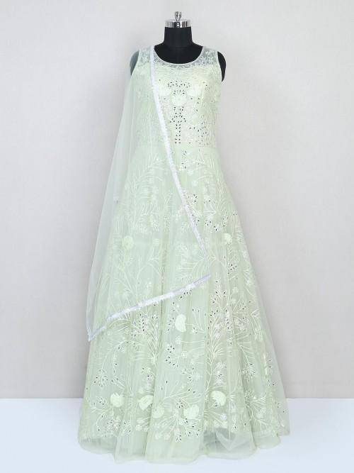 Pista Green Net Gown For Wedding Look