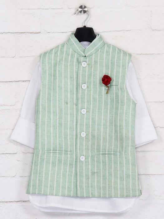 Pista Green Patch Pocket Jute Waistcoat Set