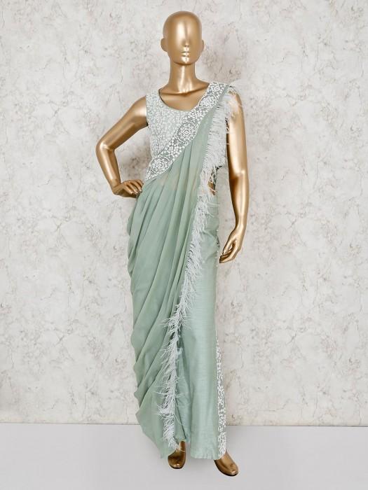 Pista Green Raw Silk Party Wear Palazzo Suit
