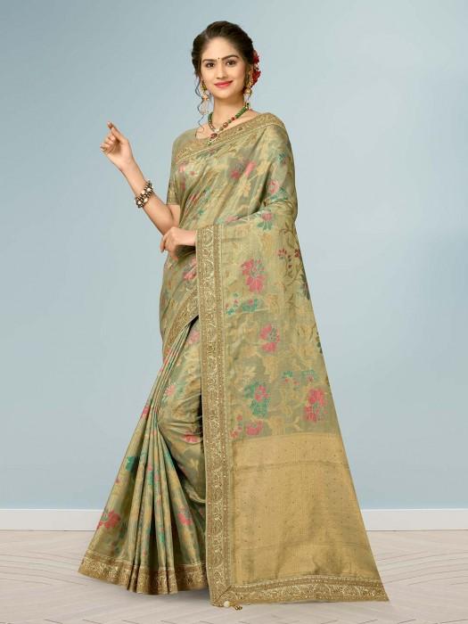 Pista Green Saree Made By Banarasi Silk