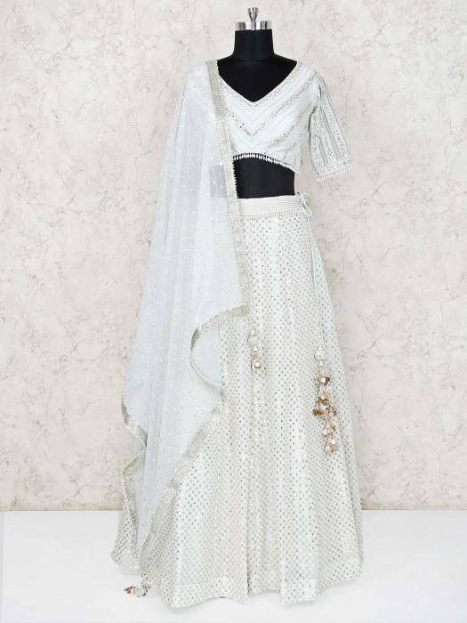 Pista Green Silk Wedding Function Lehenga Choli