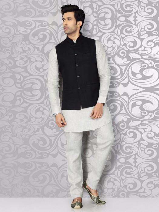 Plain Black Festive Wear Waistcoat Set