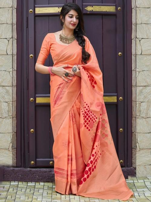 Pleasing Peach Color Semi Silk Saree