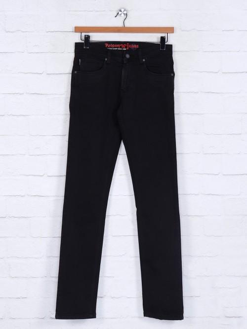 Poison Dark Brown Solid Slim Fit Jeans