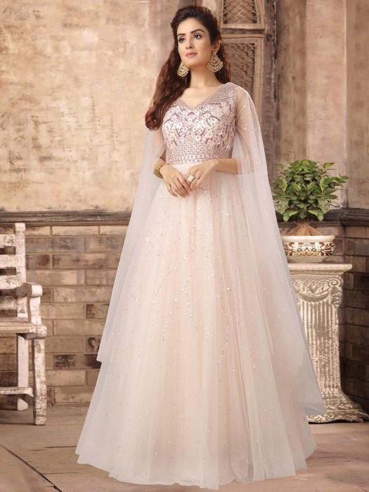 Powder Pink Net Floor Length Gown