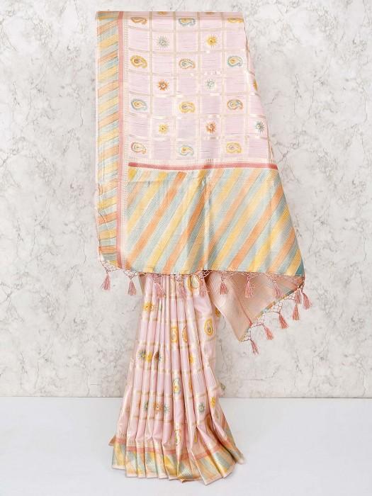 Powder Pink Wedding Silk Saree