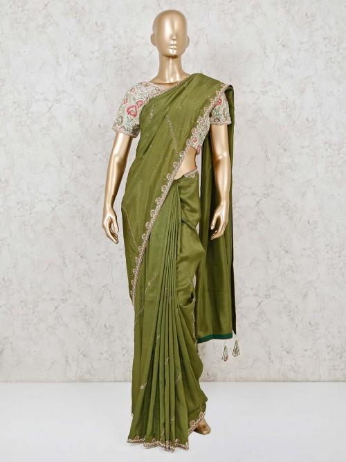 Premium Designer Green Dola Silk Readymade Blouse Saree