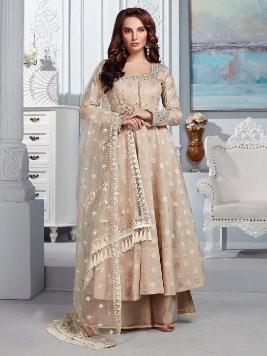 Prettiest Beige Cotton Silk Punjabi Palazzo Suit