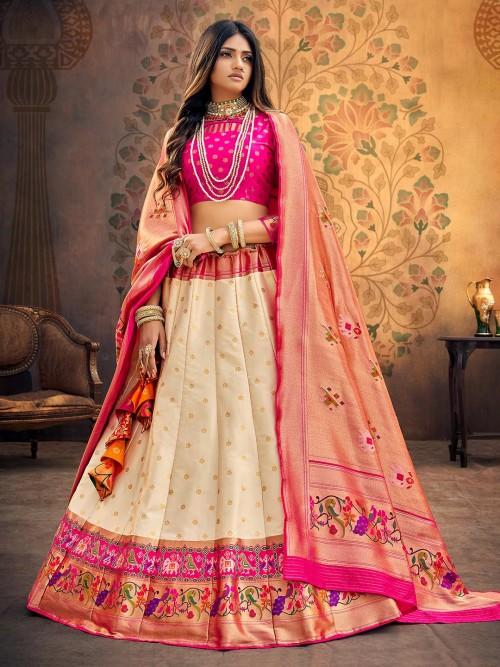 Pretty Magenta And Cream Banarasi Silk Semi Stitched Lehenga Choli