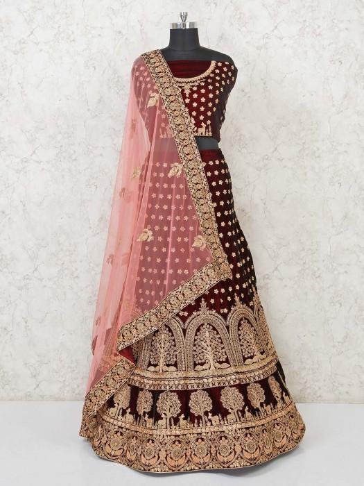 Pretty Maroon Bridal Velvet Semi Stitched Lehenga Choli