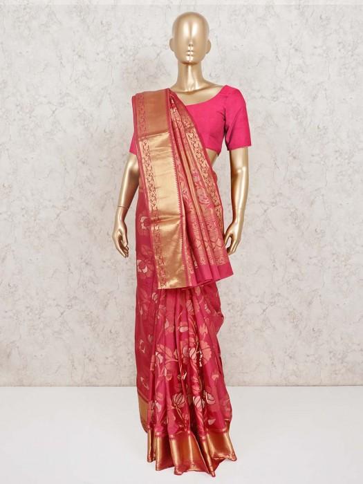 Pretty Onion Pink Banarasi Pure Silk Wedding Saree